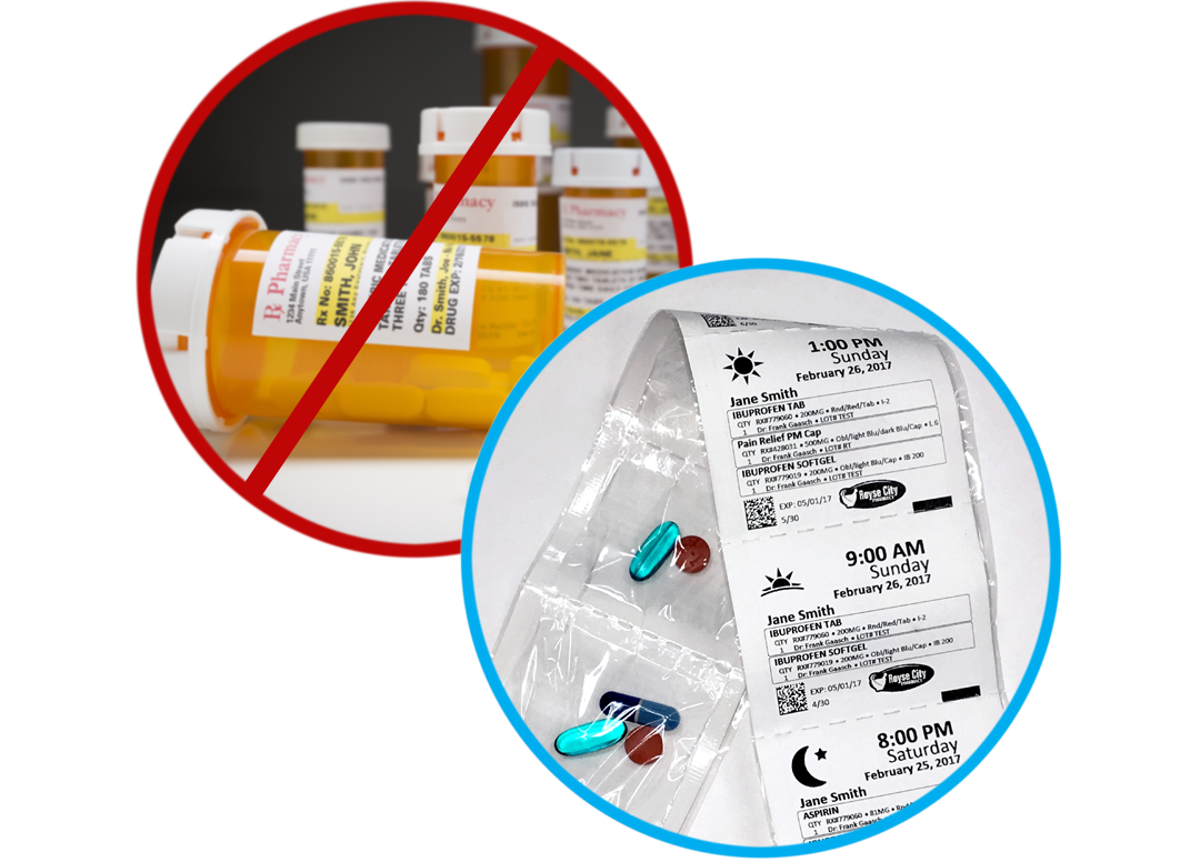 prescription bottles vs. multi-dose packets